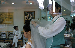 CHINA SHANGHAI MAY99 - A to-be bride is polished up at one of Shanghai's many beauty-parlours. Fashion and beauty are popular new areas where China's newly rich prefer to spent most of their income. jre/Photo by Jiri Rezac