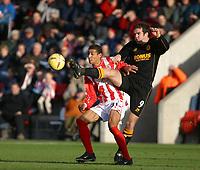 Photo: Jo Caird<br /> Cheltenham v Hull city<br /> Whaddon Rd<br /> Nationwide Div 3 2004<br /> 23/01/2004.<br /> <br /> Hull City's Ben Burgess kicks past Karl Henry