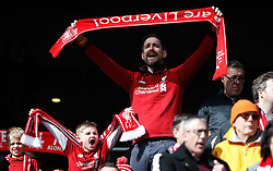 Liverpool fans shows his support prior to kick-off