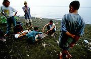 Chess game at Lovina's black volcanic beach.