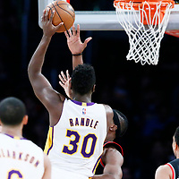 26 March 2016: Los Angeles Lakers forward Julius Randle (30) goes for the baby hook during the Portland Trail Blazers 97-81 victory over the Los Angeles Lakers, at the Staples Center, Los Angeles, California, USA.