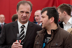 President of Slovenian football federation Ivan Simic and Goran Obrez of EKIPA at VIP reception of FIFA World Cup Trophy Tour by Coca-Cola, on March 29, 2010, in BTC City, Ljubljana, Slovenia.  (Photo by Vid Ponikvar / Sportida)