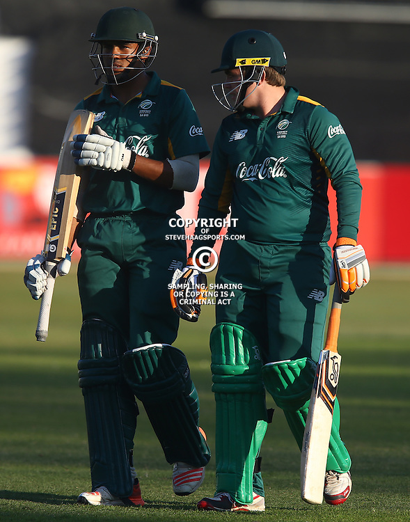 DURBAN, SOUTH AFRICA ,Sunday 19th July, Abdu Galliem of SA u19s with Sean Whitehead of SA u19s during the  South African under 19s vs the Bangladesh under 19s Cricket Series the last ODI match at Sahara Stadium Kingsmead Sunday 19th July Durban (Photo by Steve Haag)