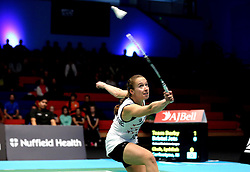 Nicky Cerfontyne of Bristol Jets plays a backhanded shot - Photo mandatory by-line: Robbie Stephenson/JMP - 07/11/2016 - BADMINTON - University of Derby - Derby, England - Team Derby v Bristol Jets - AJ Bell National Badminton League