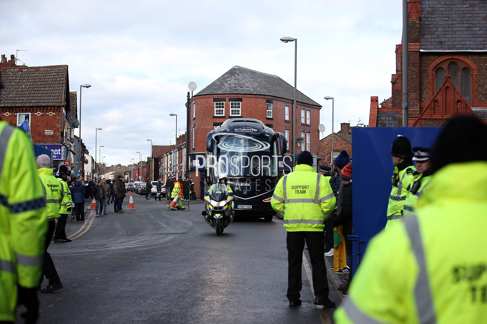 Everton team bus arriving for the Premier League match between Everton and Wolverhampton Wanderers at Goodison Park, Liverpool, England on 2 February 2019.