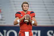 TUCSON, AZ - OCTOBER 28:  Quarterback Rhett Rodriguez #4 of the Arizona Wildcats warms up for the game against the Washington State Cougars at Arizona Stadium on October 28, 2017 in Tucson, Arizona. The Arizona Wildcats won 58-37.  (Photo by Jennifer Stewart/Getty Images)