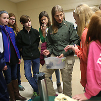 Lauren Wood | Buy at photos.djournal.com<br /> Debora Waz, a conservation biologist with the Mississippi Museum of Natural History, tells  Guntown Middle School seventh graders about turtles native to the state during an interactive visit at the Guntown Community Center.