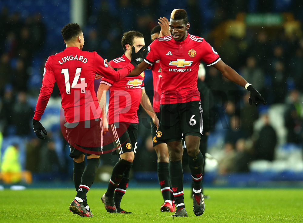 Paul Pogba of Manchester United celebrates with Jesse Lingard of Manchester United after their side's win over Everton - Mandatory by-line: Robbie Stephenson/JMP - 01/01/2018 - FOOTBALL - Goodison Park - Liverpool, England - Everton v Manchester United - Premier League