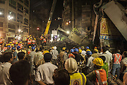 Apr 01, 2016 - Kolkata, India - Rescuers work at the collapse site of an under-construction flyover in Kolkata, capital of eastern Indian state West Bengal, March 31, 2016. At least 20 people have been killed and more than 150 others injured in a under-construction flyover collapse in the eastern Indian city of Kolkata Thursday. <br /> (Credit Image: © Exclusivepix Media)