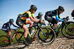 Karlijn Swinkels (NED) attacks the VAMberg cobbles at Drentse 8 van Westerveld 2019, a 145 km road race starting and finishing in Dwingeloo, Netherlands on March 15, 2019. Photo by Sean Robinson/velofocus.com
