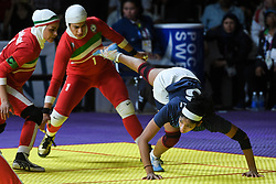 JAKARTA, Aug. 24, 2018  Sonali Vishnu Shingate (R) of India competes during kabaddi women's team final against India at the Asian Games 2018 in Jakarta, Indonesia on Aug. 24, 2018. Iran won the gold medal at 27-24. (Credit Image: © Du Yu/Xinhua via ZUMA Wire)