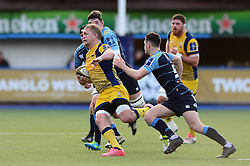 Dewald Potgieter (c) of Worcester Warriors breaks free - Mandatory by-line: Dougie Allward/JMP - 04/02/2017 - RUGBY - BT Sport Cardiff Arms Park - Cardiff, Wales - Cardiff Blues v Worcester Warriors - Anglo Welsh Cup