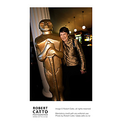 New Zealand Prime Minister Helen Clark celebrates Oscar Night at the Embassy Theatre, Wellington New Zealand.<br />