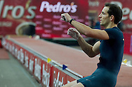 Renaud Lavillenie of France competes men's pole vault during athletics meeting Pedro's Cup 2014 2014 at Luczniczka Hall in Bydgoszcz, Poland.<br /> <br /> Poland, Bydgoszcz, January 31, 2014.<br /> <br /> Picture also available in RAW (NEF) or TIFF format on special request.<br /> <br /> For editorial use only. Any commercial or promotional use requires permission.<br /> <br /> Mandatory credit:<br /> Photo by © Adam Nurkiewicz / Mediasport
