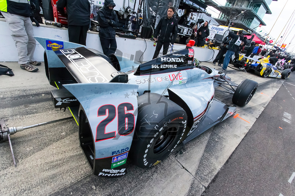 indianapolis, IN - May 17, 2014:  Kurt Busch (26) prepares the Suretone Honda to qualify for the Indianapolis 500 at Indianapolis Motor Speedway in indianapolis, IN. Kurt ran the Suretone Honda at a speed of 230.984 MPH<br /> <br /> MANDATORY PHOTO CREDIT:  Walter G. Arce, Sr. KBI/ActionSportsInc.com