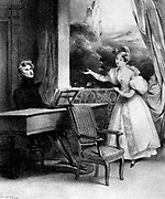 Pianist at the keyboard. 19th century lithograph