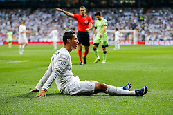 Cristiano Ronaldo of Real Madrid looks frustrated after a challenge from Bacary Sagna of Manchester City - Mandatory byline: Rogan Thomson/JMP - 04/05/2016 - FOOTBALL - Santiago Bernabeu Stadium - Madrid, Spain - Real Madrid v Manchester City - UEFA Champions League Semi Finals: Second Leg.