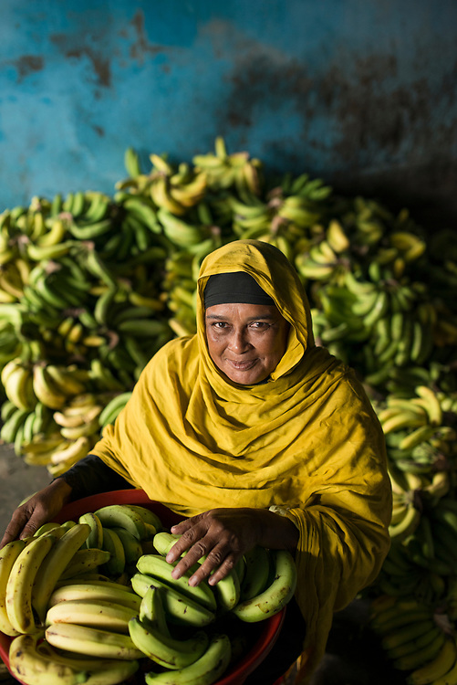 Ms. Anwana Begum owns farms and owns a small shop and tea stall. She has a homestead garden, grows taro and green banana for curry. Her village is Shajiali, near Jessore, Bangladesh.