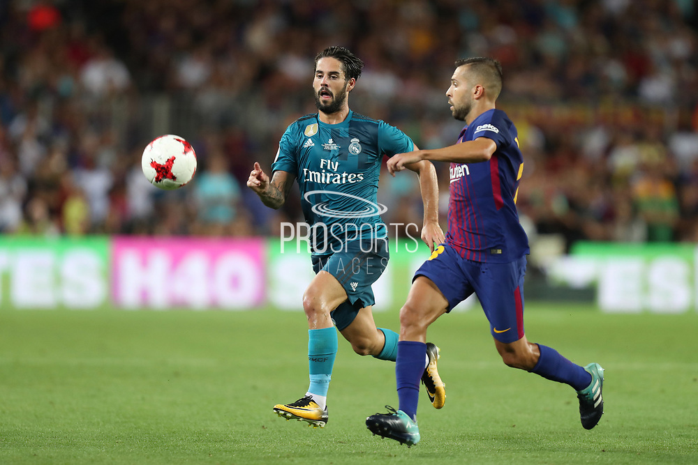 Isco of Real Madrid duels for the ball with Jordi Alba of FC Barcelona during the Spanish Super Cup football match between FC Barcelona and Real Madrid on August 13, 2017 at Camp Nou stadium in Barcelona, Spain. - Photo Manuel Blondeau / AOP Press / ProSportsImages / DPPI
