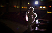 Carole Ann Leishman performs a Marilyn Monroe skit to entertain the audience prior to the evening movie at the 100-year-old Powell River, BC (2013)