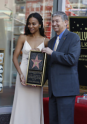 May 3, 2018 - Los Angeles, California, U.S - Leron Gubler, right, attends Zoe Saldana star honoring ceremony on the Hollywood Walk of Fame in Los Angeles, May 3, 2018. (Credit Image: © Ringo Chiu via ZUMA Wire)