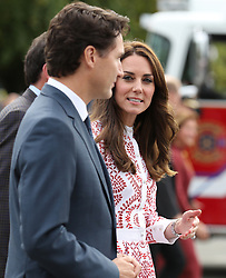 The Duchess of Cambridge with Canadian Prime Minister Justin Trudeau at the Kitsilano Coast Guard Station, in Vancouver, Canada, during the second day of the Royal Tour to Canada.