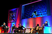 Julian Speroni, James Scowcroft and Paddy McCarthy look back at a shot of a distraught Brighton fan duringThe gloves are off. An Evening With Julian Speroni at  at Fairfields Hall, Croydon, United Kingdom on 20 January 2015. Photo by Michael Hulf.