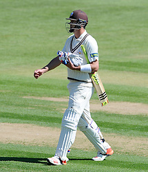 Surrey's Kevin Pietersen walks off the field unbeaten on 53 as Surrey declare. - Photo mandatory by-line: Harry Trump/JMP - Mobile: 07966 386802 - 22/04/15 - SPORT - CRICKET - LVCC County Championship - Division 2 - Day 4 - Glamorgan v Surrey - Swalec Stadium, Cardiff, Wales.