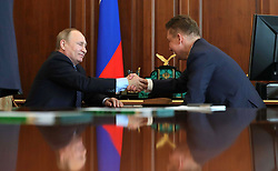May 4, 2017 - Moscow, Russia - May 4, 2017. - Russian President Vladimir Putin and Gazprom CEO Aleksey Miller (right) at a meeting. (Credit Image: © Russian Look via ZUMA Wire)