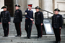 © Licensed to London News Pictures 16/04/2013.In-Pensioners are organised infront of St Paul's Catherdral during a military dress rehearsal, the day before the late Margaret Thatcher's funeral..London, UK.Photo credit: Anna Branthwaite/LNP
