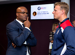 Kriss Akabusi chats with Mitch Eadie of Bristol Rugby after his talk at the Bristol Sport Big Breakfast - Mandatory by-line: Robbie Stephenson/JMP - 29/07/2016 - FOOTBALL - Ashton Gate - Bristol, England - Bristol Sport Big Breakfast - Kriss Akabusi