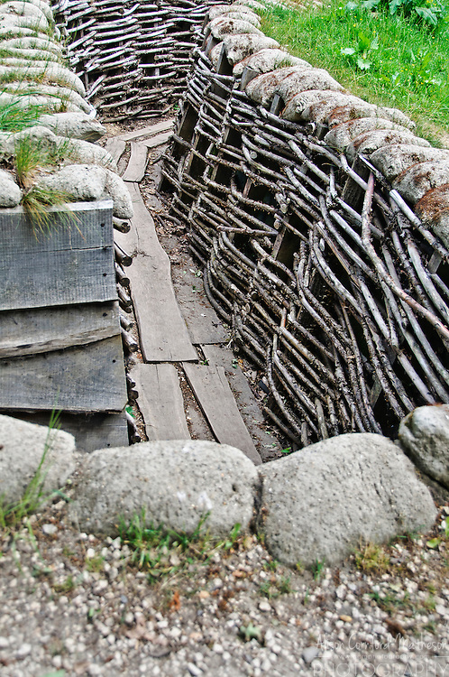 A replica of a trench during World War One in Flanders Fields near Ypres, Belgium