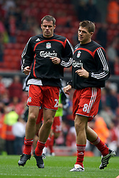 Liverpool, England - Sunday, October 7, 2007: Liverpool's captain Steven Gerrard MBE and Jamie Carragher warm-up before the Premiership match against Tottenham Hotspur at Anfield. (Photo by David Rawcliffe/Propaganda)
