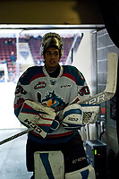 KELOWNA, CANADA - JANUARY 3: Roman Basran #30 of the Kelowna Rockets exits the ice after warm up against the Tri-City Americans on January 3, 2017 at Prospera Place in Kelowna, British Columbia, Canada.  (Photo by Marissa Baecker/Shoot the Breeze)  *** Local Caption ***