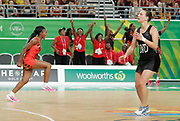 8th April 2018, Gold Coast Convention and Exhibition Centre, Gold Coast, Australia; Commonwealth Games day 4; Netball Malawi versus New Zealand Malawi players and their bench start to celebrate a huge upset as they defeat New Zealand 57-53