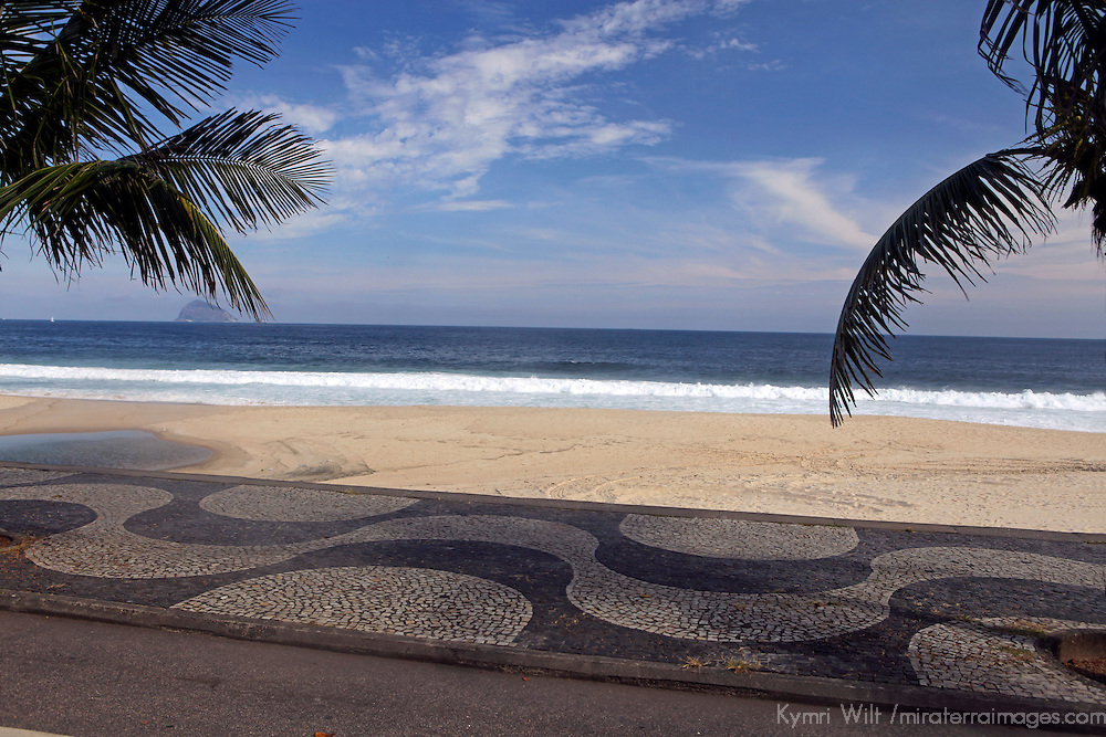 South America, Brazil, Rio de Janiero. The Portuguese pavement along the beaches of Ipanema and Copacabana.