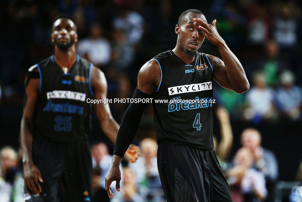 Cedric Jackson of the Breakers reacts. 2014/15 ANBL, SkyCity Breakers vs Adelaide 36ers, Vector Arena, Auckland, New Zealand. Thursday 12 February 2015. Photo: Anthony Au-Yeung / www.photosport.co.nz