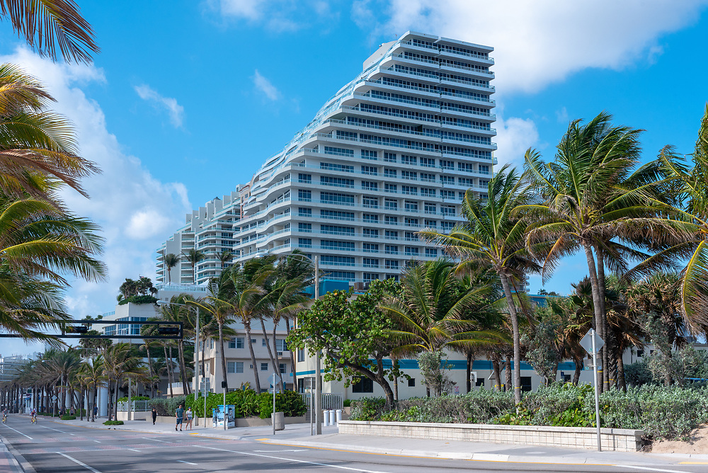 Fort Lauderdale, Florida--May 1, 2018. Hotels, condos and palm trees line Beach Blvd in Fort Lauderdale, Florida. Editorial use only.