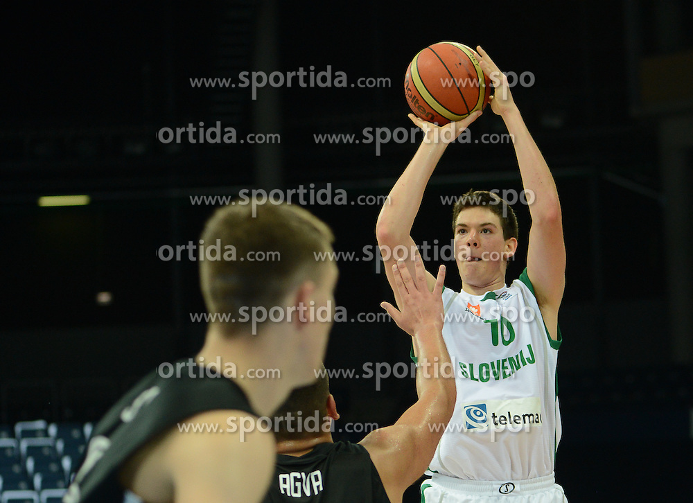 Tilen Kodrin of Slovenia during basketball match between National teams of Slovenia and Germany in Division A of U16 Men European Championship Lithuania 2012, on July 20, 2012 in Panevezys, Lithuania. (Photo by Robertas Dackus / Sportida.com)