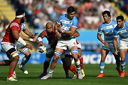Pablo Matera of Argentina is tackled in possession - Mandatory byline: Patrick Khachfe/JMP - 07966 386802 - 04/10/2015 - RUGBY UNION - Leicester City Stadium - Leicester, England - Argentina v Tonga - Rugby World Cup 2015 Pool C.