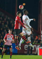 EXETER, ENGLAND - Friday, January 8, 2016: Liverpool's Christian Benteke in action against Exeter City during the FA Cup 3rd Round match at St. James Park. (Pic by David Rawcliffe/Propaganda)