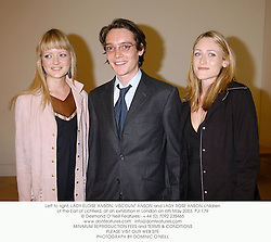 Left to right, LADY ELOISE ANSON, VISCOUNT ANSON and LADY ROSE ANSON children of the Earl of Lichfield, at an exhibition in London on 6th May 2003.	PJI 179