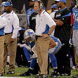 2009 September 13: Detroit Lions head coach Jim Schwartz on the sideline during a 45-27 win by the New Orleans Saints over the Detroit Lions at the Louisiana Superdome in New Orleans, Louisiana.
