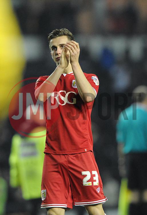Joe Bryan of Bristol City applauds the away support  - Mandatory byline: Dougie Allward/JMP - 15/12/2015 - Football - iPro Stadium - Derby, England - Derby County v Bristol City - Sky Bet Championship