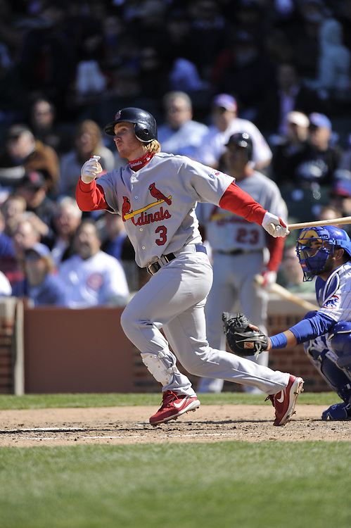 CHICAGO - APRIL 16:  Khahil Greene #3 of the St. Louis Cardinals bats against the Chicago Cubs on April 16, 2009 at Wrigley Field in Chicago, Illinois.  The Cardinals defeated the Cubs 7-4.  (Photo by Ron Vesely)