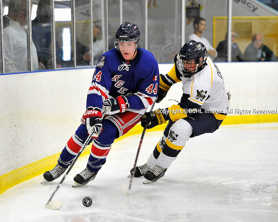 BURLINGTON, ON - Sep 7, 2014 : Ontario Junior Hockey League game action between Whitby and North York. Will Reily #44 of the North York Rangers Hockey Club skates with the puck while being pursued by Jesse Dunn #7 of the Whitby Fury Hockey Club during the third period.<br /> (Photo by Shawn Muir / OJHL Images)