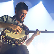 FAIRFAX, VA - February 13th,  2013 - Winston Marshall of British folk outfit Mumford & Sons performs at the Patriot Center in Fairfax, VA.  The band's sophomore album, Babel, debuted at number one on both the UK and US album charts and recently won the 2013 Grammy for Album of the Year. (Photo by Kyle Gustafson/For The Washington Post)