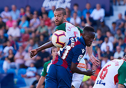 September 30, 2018 - Valencia, U.S. - VALENCIA, SPAIN - SEPTEMBER 30: Boateng, forward of Levante UD and Laguardia, defender of Deportivo Alaves in action during the La Liga match between Levante UD and Deportivo Alaves at Estadio Ciutat de Valencia on September 30, 2018, in Valencia, Spain. (Photo by Carlos Sanchez Martinez/Icon Sportswire) (Credit Image: © Carlos Sanchez Martinez/Icon SMI via ZUMA Press)
