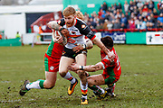 Bradford Bulls stand off Joe Keyes (6) is stopped during the Betfred League 1 match between Keighley Cougars and Bradford Bulls at Cougar Park, Keighley, United Kingdom on 11 March 2018. Picture by Simon Davies.