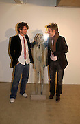 Hugh Dancy and Christopher Bailey. Annie Morris private view, Laura Bartlett Gallery. Leathermarket St. Bermondsey. London. 17 March 2005. ONE TIME USE ONLY - DO NOT ARCHIVE  © Copyright Photograph by Dafydd Jones 66 Stockwell Park Rd. London SW9 0DA Tel 020 7733 0108 www.dafjones.com